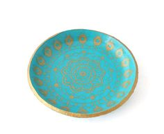 Turquoise & Gold Mandala Ring Dish | Jewellery Holder | Jewellery Storage Solutions at Lottie Of London Jewellery