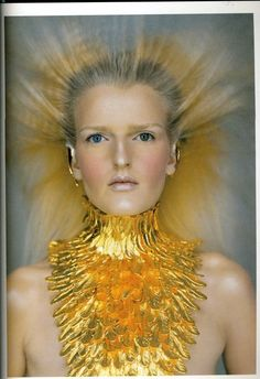 Givenchy by Alexander McQueen Spring/Summer 1997 Fashion Art, Editorial Fashion, Fashion Design, Dress Fashion, Alexandre Mcqueen, Gold Collar, Going For Gold, Stay Gold, Bronze