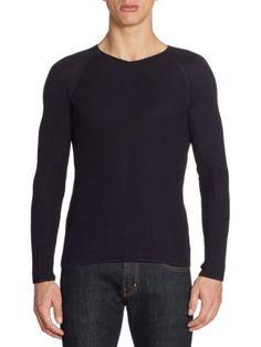 EMPORIO ARMANI Rib-Knit Silk Blend Sweater. #emporioarmani #cloth #sweater