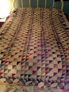 Very Old Quilt Top Triangles Squares Tiny 1 1 2 inch Pieces Hand Pieced Shirting | eBay