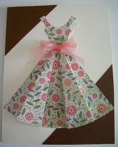 Yellow Origami Bird: Cute Pink Dress Card