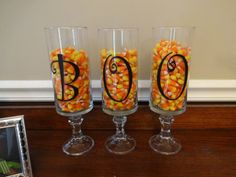 BOO vinyl decal (letters only) 3 inches. on dollar store vases and candle holders. Diy Vinyl Projects, Projects To Try, Fall Candles, Vinyl Lettering, Candy Corn, Holidays Halloween, Hurricane Glass, Dollar Stores, Etsy Store
