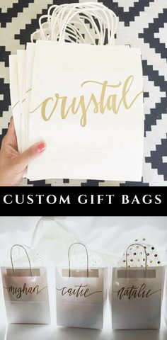 I love these custom gift bags for weddings, bridal showers, bachelorette parties, and groomsmen gifts. #ad #weddingideas #bridalshowerideas #bacheloretteparty #groomsmengifts