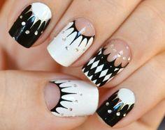 french manicure designs black white