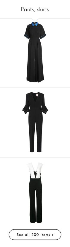 """Pants, skirts"" by bliznec ❤ liked on Polyvore featuring jumpsuits, black, roksanda, roksanda jumpsuit, wide leg jumpsuit, silk jumpsuit, jump suit, crepe jumpsuit, sleeveless jumpsuits and thierry mugler"