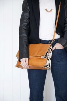 """""""Sometimes it's nice to just keep things simple.   Jeans and a tee with a great blazer might feel basic, but the right  accessory can be a game changer."""" Her New Tribe Atlanta style blog"""