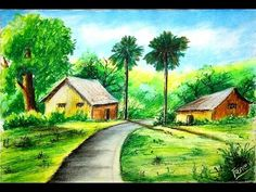 Discover recipes, home ideas, style inspiration and other ideas to try. Oil Pastel Landscape, Small Canvas Paintings, Scenery Paintings, Oil Pastel Paintings, Oil Pastel Art, Oil Pastel Drawings, Watercolor Landscape Paintings, Watercolor Scenery, Indian Paintings