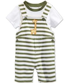 First Impressions Baby Boys' 2-Piece Giraffe Shortall & T-Shirt Set, Only at Macy's