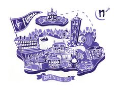 Furman University Map   12 x 16 by BekahsIllustration, $25.00  Illustrated, screenprinted map highlighting the campus' main areas in the school's purple color. #furman