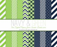 Just Peachy Designs: Free Digital Paper: Navy and Green
