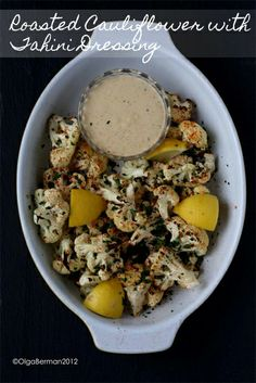 Low Carb Recipes - Roasted Cauliflower with Tahini Dressing - Vegan #ketodiet #lchf #lowcarbs #diet #recipes