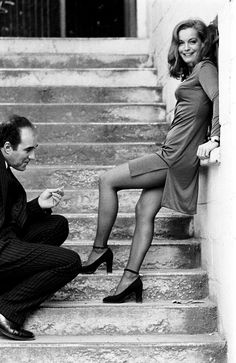 Michel Piccoli and Romy Schneider on the set of Max et les ferrailleurs directed by Claude Sautet, 1971. Photo by Giancarlo Botti