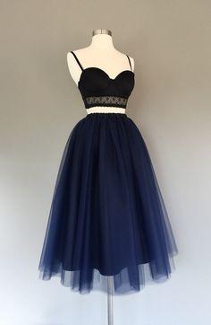 Navy blue lined tulle skirt women's tulle skirt by shopVmarie