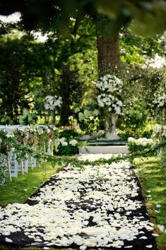 white petals down the aisle for an outside wedding.