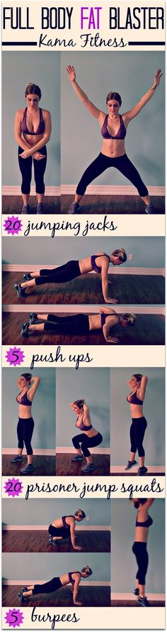 Full Body Fat Blaster - Set your timer for a 12 minute countdown. Aim for as many rounds as possible in 12 minutes.