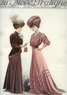 1908 La Mode Pratique, trim on brown jacket, trim on pink bodice