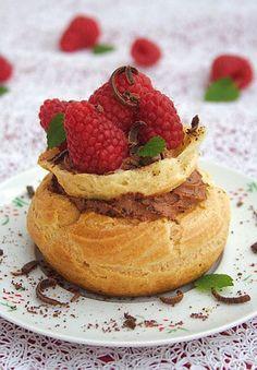 raspberry and chocolate cream puffs