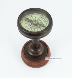 Reproduction Antique Nautical Desktop Brass Compass With Wood Stand Compasses photo