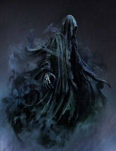Dementors are soulless and evil creatures that suck happiness from humans. Find Harry Potter Dementor costume ideas for adults and kids. Dark Creatures, Fantasy Creatures, Mythical Creatures, Dark Fantasy Art, Dark Art, Grim Reaper Art, Don't Fear The Reaper, Dark Reaper, Arte Horror