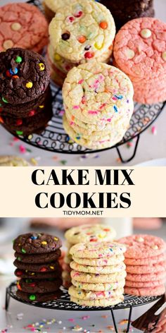 Just 3 ingredients and these soft fluffy Cake Mix Cookies couldn't be easier to make thanks to your favorite box cake mix! Add mix-ins and the flavor combinations are endless. Cake Mix Desserts, Cake Mix Cookie Recipes, Oreo Dessert, Mini Desserts, Easy Desserts, Delicious Desserts, Dessert Recipes, Cupcakes From Cake Mix, Recipe For Cookies