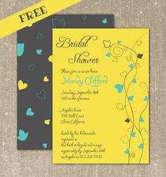 FREE printable bridal shower invitation, yellow bridal shower invitation. Customize online and download your PDF file.
