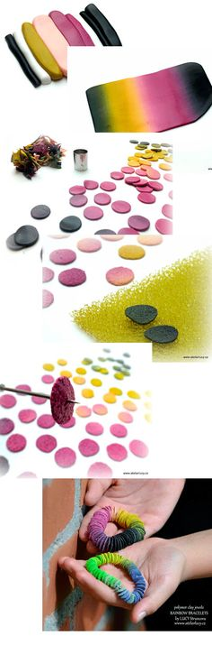 fichas de arcilla polimérica utilizando esponjas para las mercancías