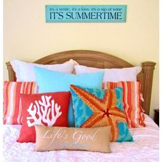 Create a summer vibe in the bedroom with fun and vibrant #pillows: http://www.completely-coastal.com/2013/02/coastal-beach-pillows.html Image source unknown.