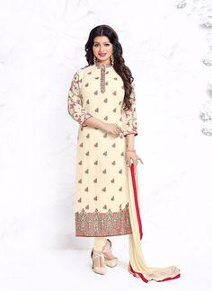 Ayesha Takia Cream Trendy Churidar Salwar Suit