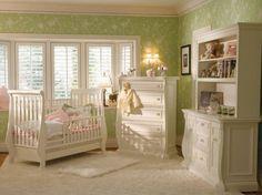 Shabby Chic. Love!! Green nursery room