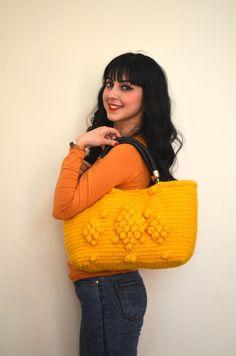 Handmade Mustard Yellow  Knit Bag Celebrity StyleCrochet by hibbe