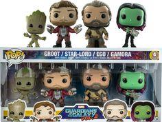 Marvel - Guardians of the Galaxy: Vol 2 - Groot, Star-Lord, Ego & Gamora Pop! Funko Pop Dolls, Funko Pop Figures, Pop Vinyl Figures, Funko Pop Display, Funko Pop Avengers, Funk Pop, Pop Toys, Star Lord, Funko Pop Vinyl