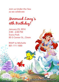 Ariel Disney Little Mermaid Free Birthday Invitation Site Has