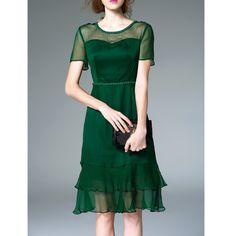 Original 2017 Brand Summer Silk Plus Size Green High Waist Casual Vintage Flounce Solid Midi Dress Women Wholesale