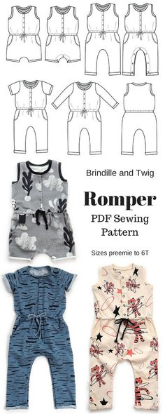 This romper pattern has so many options, you will be able to use it year round for any age! Make it in shorts or pants, with short sleeves or long sleeves. Or our favorite, the pants with the tank top option. On top of that, there's an option for a snap placket on the legs for the younger babes! #PDFpattern #babyromperpattern #girlsromperpattern #boysromperpattern #romperpattern #childrenspattern #ad