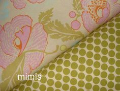 Amy Butler Fabric / Full Moon Dots in Lime / Fresh Poppies in Ivory -1 Yard Cotton Quilt Fabric. $8.99, via Etsy.
