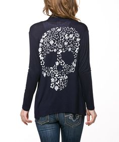 Look at this Magic Fit Navy Flower Skull Open Cardigan on #zulily today!