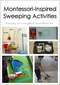 Getting children involved in household chores through Montessori activities as toddlers and preschoolers ... post includes a roundup of Montessori-inspired sweeping activities