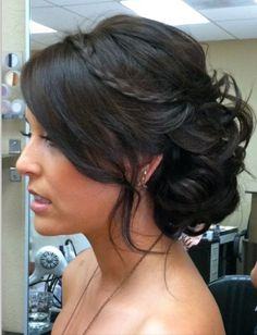 Bridesmaids hair, loose up-do with bun and small braid