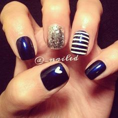 Looking for new nail art ideas for your short nails recently? These are awesome designs you can realistically accomplish–or at least ideas you can modify for your own nails! Get Nails, Fancy Nails, Love Nails, How To Do Nails, Pretty Nails, Essie, Uñas Fashion, Nails Polish, Nagel Gel