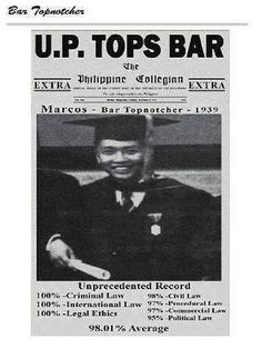 Front page of Philippine Collegian showing President Ferdinand Marcos as the topnatcher for 1939 Philippine Bar Exam : Front page of Philippine Collegian showing President Ferdinand Marcos as the topnatcher for 1939 Philippine Bar Exam Ferdinand, People Power Revolution, Thrilla In Manila, Philippine Star, President Of The Philippines, Baguio City, Criminal Law, Yearbook Photos, Philippines