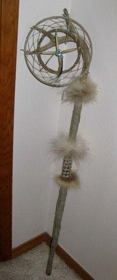 Authentic Native American Antler Dream Catcher Dancing Stick Fur & Bead Work