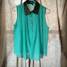 Top Blue/teal sheer button up sleeveless top with bronze sequin collar. The sequins are a little worn. Tops