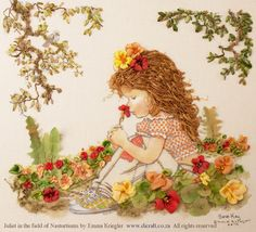 Juliet in Field of Nasturtiums from Sarah Kay range - Embroidered by Emma Kriegler
