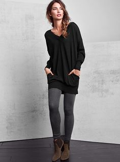 Double V-neck Tunic Sweater A Kiss of Cashmere