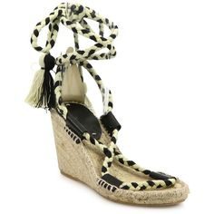 Soludos Leather & Textile Lace-Up Espadrille Wedge Sandals ($52) ❤ liked on Polyvore featuring shoes, sandals, black espadrille sandals, black sandals, black wedge espadrilles, black leather sandals and platform espadrille sandals