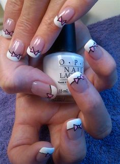 Bow tie french tip nail art