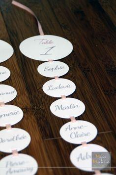 Plan de table - Ronds blancs sur ruban rose                                                                                                                                                      Mehr