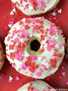 Valentine's Day Baked Vanilla Cake Donuts