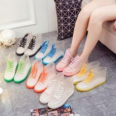 PVC Fashion Women Transparent Rain Boots Rubber Lace Up Women Ankle Boots Waterproof Casual Comfort Ladies Martin Boots Shoes. At times we all need rain boots and these boots are stylish in their simplicity. Cute Shoes, Me Too Shoes, Shoe Boots, Ankle Boots, Martin Boots, Waterproof Boots, Candy Colors, Rubber Rain Boots, Fashion Shoes