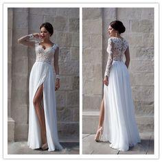 Elegant Long Sleeves Appliques Top White Brdial Wedding Dress #T01